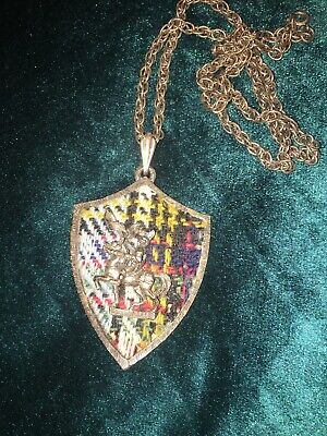 Pim Coat Of Arms Medieval Knight Necklace Plaid  Vintage