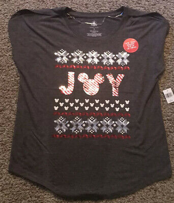 Disney Parks Holiday Joy Reversible Sequined T-Shirt M NEW