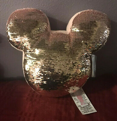Disney Parks Briar Rose Gold Mickey Reversible Sequined Pillow