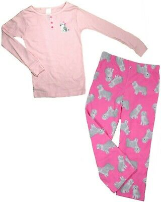 CARTERS Girls PYJAMAS Top Fleece Bottoms OLD ENGLISH SHEEP DOG Pink PJs Loungers