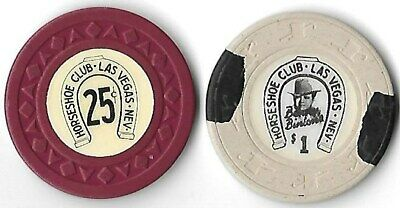 "Binions ""Horseshoe Club"" 25¢ & $1. casino chips Arodie mold, Las Vegas, NV lot"