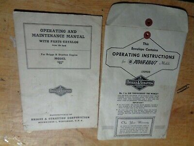 Manuals For Briggs&stratton Gas Engines Powr-kraft Operating Instructions