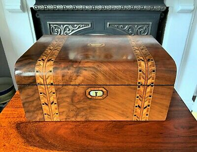 EXCEPTIONAL 19thc WILLIAM IV DOMED PARQUETRY WALNUT FITTED WRITING SLOPE BOX