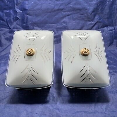 Pair of decorative mid century vintage glass and brass wall sconces 87A