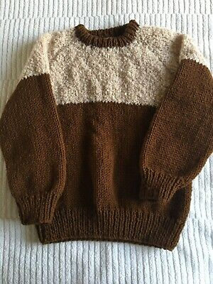 Childrens Hand Knitted Brown And Cream Jumper FREE POSTAGE