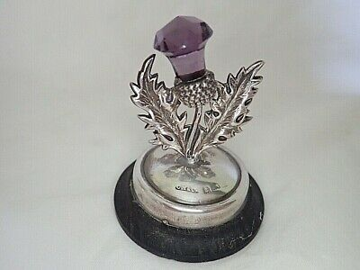 c1910 Antique SILVER Edwardian Scottish THISTLE Menu Holder AMETHYST Arts & Crat