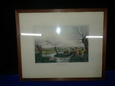 19th Century Wild Duck Shooting Near Cowley Engraving R. Havell 1800s Antique