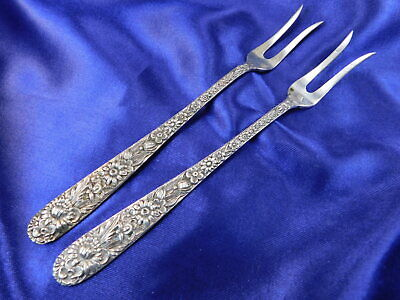 S. Kirk & Son Repousse Sterling Silver Lemon Fork 2-Tine Large Pair - Very Good
