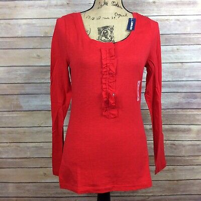 Old Navy Woman's Size Medium Solid Red Long Sleeve Top NWT