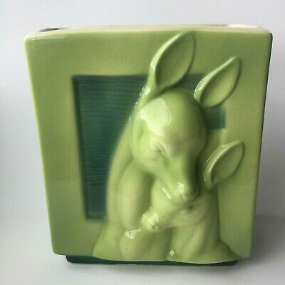 Vintage Deer Fawn Doe 1960s  Planter Pottery Ceramic Green 3D Royal Copley