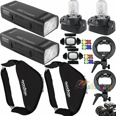 2Pcs Godox AD200 200W TTL HSS 1/8000s Flash Strobe Light Softbox Trigger Kit