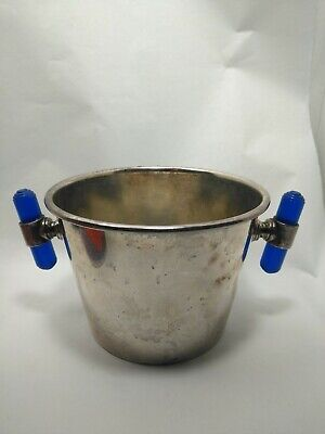 Art Deco silver plate wine bottle holder champagne bucket Bakelite Handles
