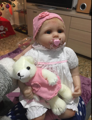 """Cute 22"""" Weighted Reborn Baby Dolls Girl Blue Eyes Newborn Babies Real Size Look"""
