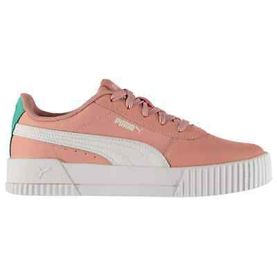 Puma Kids Girls Carina Leather Trainers Junior Court Shoes Lace Up Upper