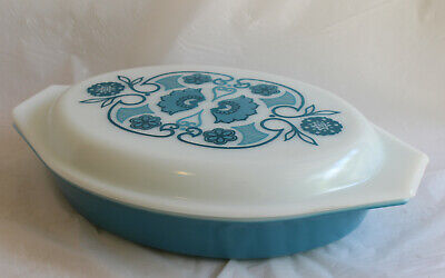 Vintage PYREX Blue Horizon 1.5qt Divided Casserole Dish with Lid Turquoise Teal
