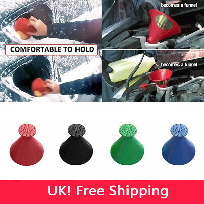 UK Magical Car Windshield Ice Snow Remover Scraper Tool Cone Shaped Round Funnel
