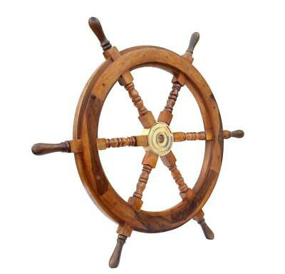 "30"" Nautical Wood Boat Ship Steering Wheel Party Beach Home Wall Decor"