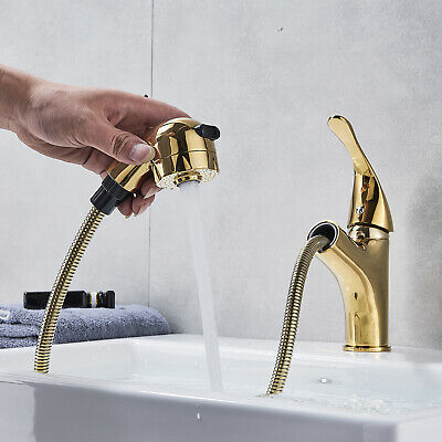 Golden Pull Out Spray Bathroom Vessel Faucet Single Handle Vanity Lavatory Tap