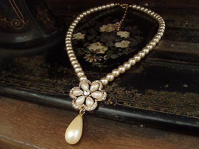 Vintage Rosita Pearl Flower with Drop Necklace & Tiny Crystals. Adjustable Chain
