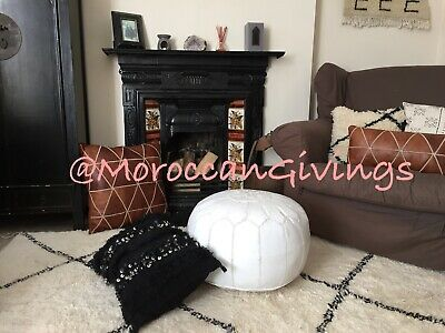 100% Leather Handcrafted Moroccan Pouffe White with White embroidery