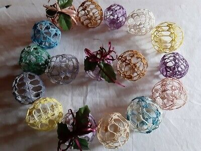 17 Assorted Vintage Dyed Crochet Christmas Tree Ball Ornaments