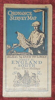 """Ordnance Survey 1/4"""" Linen Backed Map Of England South - 11 - 1919"""