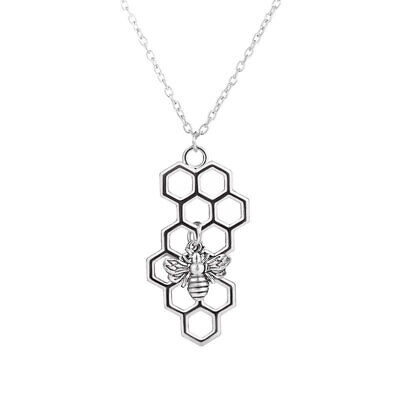 Charm Fashion Silver Necklaces for Women Girl Heart Honeycomb Bee Animal #1