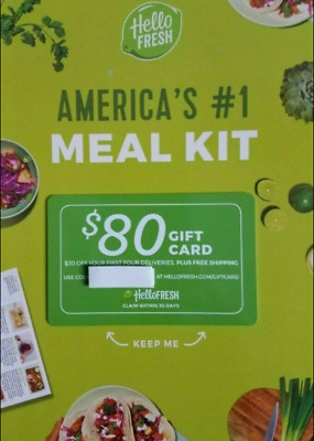 HELLO FRESH $80 Gift Card - Gourmet Meal Kit Delivery Service