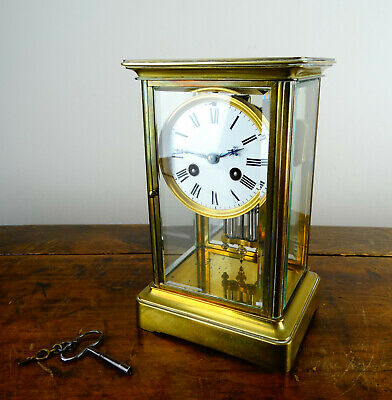 Antique French Four Glass Crystal Mantel Clock Striking Regulator by Vincenti