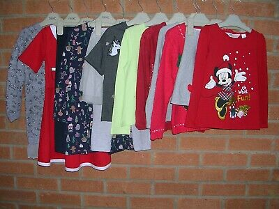 NEXT GAP TU Girls Red Christmas Bundle Tops Leggings Skirt Dress Age 4-5 110cm