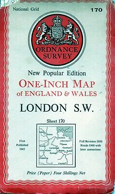 Old Vintage 1948 OS Ordnance Survey One-Inch Map 170 - London S.W.