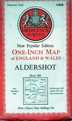 Old Vintage 1947 OS Ordnance Survey One-Inch Map 169 - Aldershot