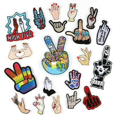 DIY Embroidered Gesture Sew Iron On Badge Patches Clothing Fabric Applique New