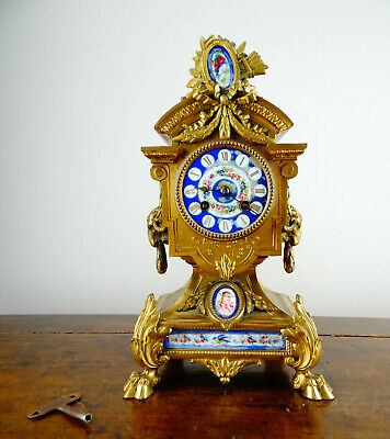 Antique Victorian French Sevres Porcelain Bronze Mantel Clock by Samuel Marti