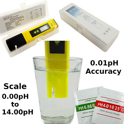Digital pH Meter Test Water Quality & Aquarium Tester With Calibration Sachets