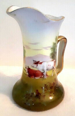 """Royal Bayreuth Porcelain Pitcher Creamer Cows in Pasture Scene 4"""" Small"""