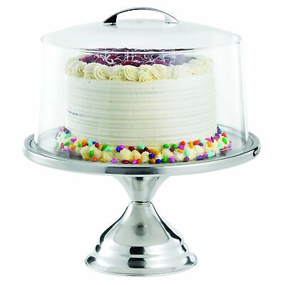 """TableCraft Products 821422 Cake Stand & Cover Set 12.75"""" Dia x 13.75"""" H"""
