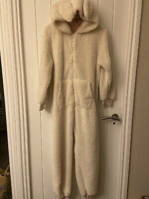 Girls Age 12 Next Cream Fluffy Rabbit All In One Pyjama Lounge Suit