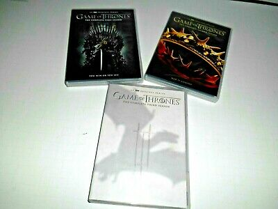 Lot of 3 HBO: Game of Thrones; Complete Seasons 1 2 & 3 DVD Box Sets ] Fast Ship