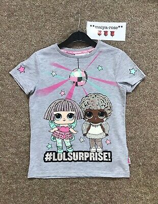 Primark LOL Surprise Doll Winter Disco Girls T-Shirt Top Grey Sequin Ages 4-10