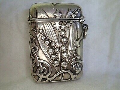 c1900 ANTIQUE French Silver ART NOUVEAU Vesta Case MATCHSAFE LILY OF THE VALLEY