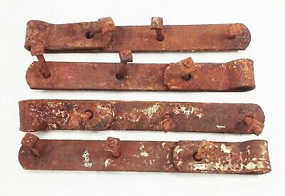 "Vtg antique cast iron forged barn door gate strap hinges 12"" rustic 4 pcs"