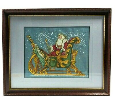 Old World Victorian Santa On Sleigh Cross Stitch Embroidery Framed Wall Hanging