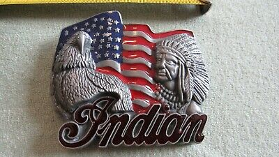 INDIAN MOTORCYCLE BELT BUCKLE enamel FLAG EAGLE CHIEF HEADDRESS NEW red black