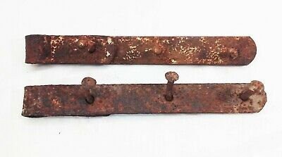 "Vtg antique cast iron forged barn door gate strap hinges 12"" rustic 2 pcs"