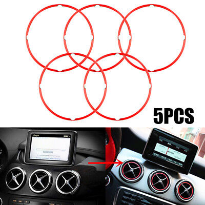 2x Car Metal Red Air Vent Outlet Ring Cover For Mercedes/Benz GLA CLA180 Parts