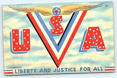 postcard World War II USA patriotic, V Victory, Liberty Tichnor Bros., linen era