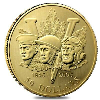 2005 Canada WW II End - 60th anniv Army-Navy-AirForce $50 commemorative 14K gold