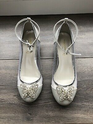 Girls Silver Sparkling heels shoes from Monsoon children's size UK 2