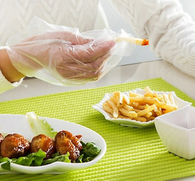 100 Disposable Plastic Gloves Polythene Boxed Food Prep Food Safe One Size @